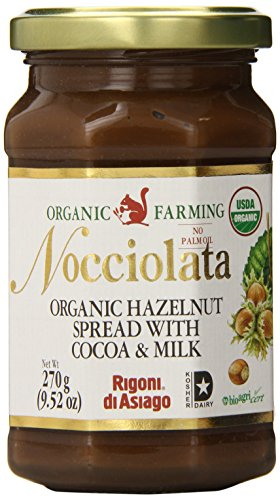 Rigoni Di Asiago Nocciolata Organic Hazelnut Spread, Cocoa and Milk, 9.52 Ounce Jar (Pack of 6)