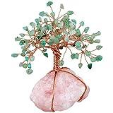 KYEYGWO - Decorazioni per albero in cristallo naturale per casa e ufficio, per fortuna, Feng Shui ornamenti per la salute della ricchezza, avventurina verde