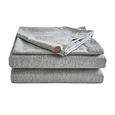 Solid Color Duvet Cover Queen 3 Piece Ultra Soft Linen Style Easy Care Bedding Set (Queen,Grey)