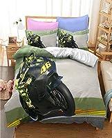 3Dモーターサイクル布団カバーセットレーシングベッドホテル品質マイクロファイバーメンズ10代の若者たちの男の子子供子供子供用掛け布団カバー、ウルトラソフト (Color : D, Size : US-Twin 173x218cm)