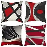 4 Pack Cuscini Divano rosso geometria Moderni Cotone Biancheria...