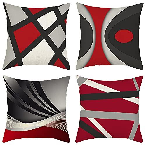 4 Pack Cuscini Divano rosso geometria Moderni Cotone Biancheria Decorativo Copricuscini Divano 45x45 cm