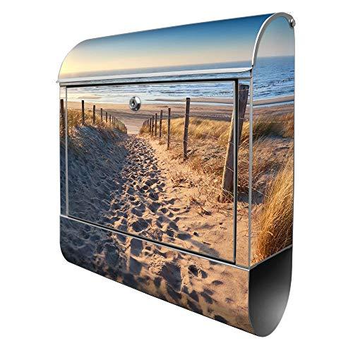 Banjado Design Briefkasten mit Motiv Nordseestrand | Stahl pulverbeschichtet mit Zeitungsrolle | Größe 39x47x14cm, 2 Schlüssel, A4 Einwurf, inkl. Montagematerial