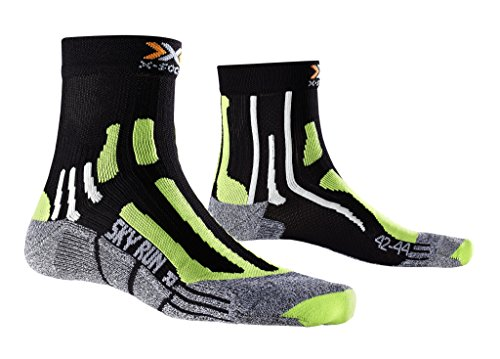 X-Socks Erwachsene Funktionssocken Sky Run Two Socken, Black/Green lime/Mouline grey, 35/38