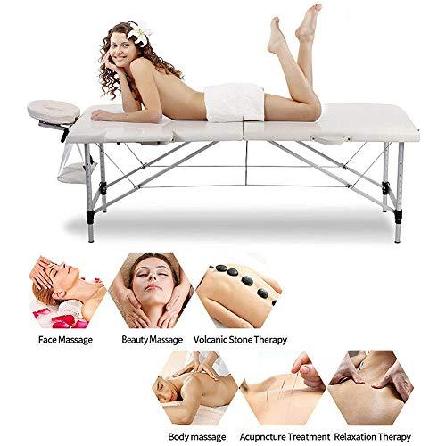 Massagetafel Opgevouwen draagbaar massagebed Lichtgewicht opvouwbaar bankstel met 2 secties Verstelbare hoogte voor gezichtssalon Schoonheidssalon Tatoeage Therapie, 225 kg belasting