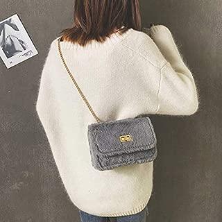 Fashion Single-Shoulder Bags Leisure Fashion Chain Plush Slant Shoulder Bag(Black) (Color : Grey)