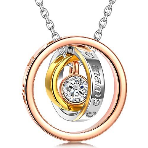 Kami Idea Geschenke für Mama Kette Damen Kette Silber Kette Personalisierte Geschenke Halskette Rosegold Rosegold Halskette Damen Mama Kette Geschenke für Ehefrau Frauen Muttertagsgeschenk