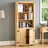 Vida Designs Corona 2 Door Bookcase Display Unit Solid Pine Wood Distressed Waxed Finish