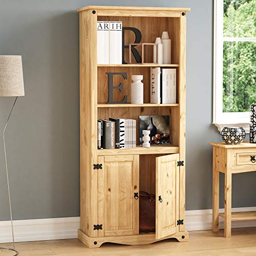 Home Discount Corona Bücherregal 2 tür Display Einheit Kiefer massiv Holz Distressed gewachst