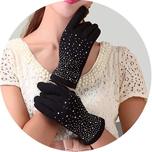 Small-shop Winter Gloves Gants d'hiver en Cachemire pour Femme - Gants en Laine - Gants élégants Assortis - Gris, Femme, G030 Diamond Black, Taille Unique