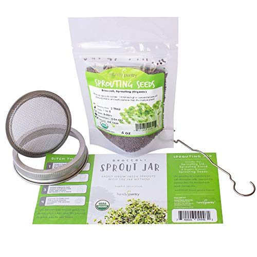 Organic Broccoli Sprout Growing Kit - Includes 316 Stainless Steel Sprouting Lid, Sprout Stand, and Organic Non-GMO Broccoli Sprouts Seeds - Complete Broccoli Sprout Kit by Handy Pantry & Trellis + Co