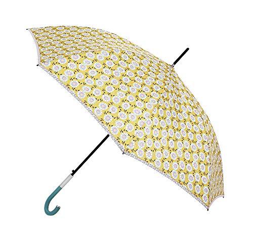 Paraguas Vogue confeccionado en Tres Estampados de diseño Exclusivo. Paraguas Fabricado en Fibra de Vidrio. Antiviento, Teflón y Apertura automática. (Estampado Chic Floral Amarillo)