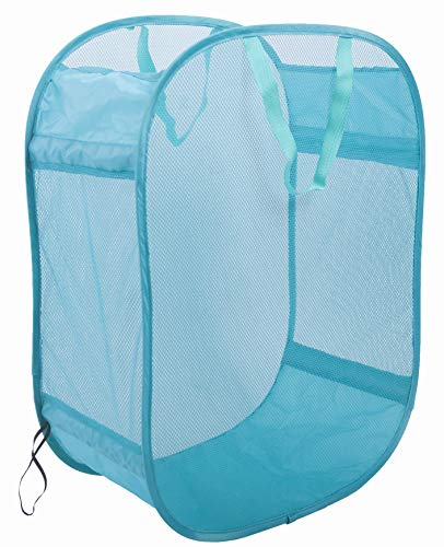 Amelitory Mesh Pop-up Laundry Hamper Easy Foldable Laundry Baskets with Two Durable Handles for HomeDormTravelling Storage Lake Blue