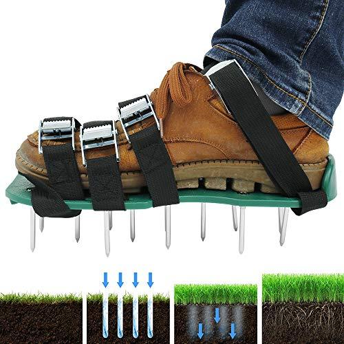 harupink Rasenlüfter Schuhe, Rasenbelüfter Nagelschuhe Vertikutierer Rasen Stachelschuhe mit Verstellbare Gurte und Metal, Schuhe für Rasen oder Hof (4 Verstellbare Gurte)