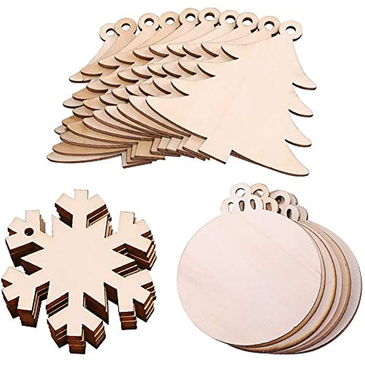 MediaLJia Wooden Hanging Ornaments Christmas Tree Snowflake Snowman Shaped Embellishments for Christmas Decoration (Mixed 30 PCs)