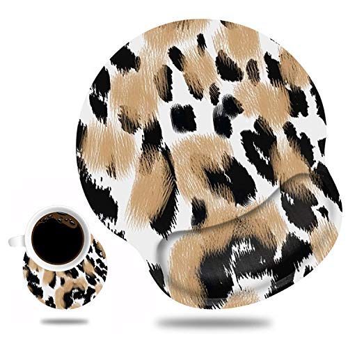 Ergonomic Mouse Pad Wrist Support and Cute Coffee Coaster, Non Slip PU Base Mouse Pad Wrist Rest for Computer, Office Gaming, Working, Easy Typing & Pain Relief, Leopard Print