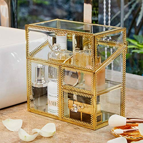 PuTwo Makeup Organizer Handmade Vintage Brass Edge Makeup Brush Holder Glass Makeup Brushes Storage Cosmetic Organizer Makeup Vanity Decoration Jewelry Box Make up Brushes Holder with FREE PEARLS