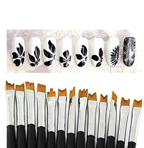 KADS, set di 13 pennelli per nail art. Set professionale per decorare e dipingere le unghie, con pennelli per disegni dettagliati e per realizzare pois