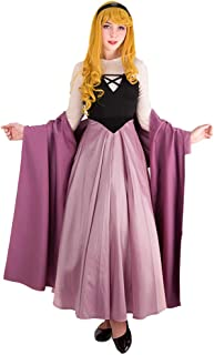 Cosplay.fm Women's Briar Rose Costume Outfit Aurora Peasant Dress with Shawl Petticoat