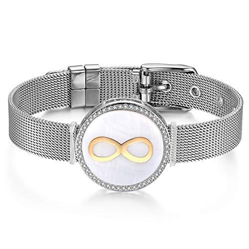 JewelryWe Schmuck Mesh Armband Damen Edelstahl Zirkonia Infinity Unendlichkeit Lieben Zeichen Charms Armkette Armreif Charmband mit Weiß Abalone Muschel Gold Silber