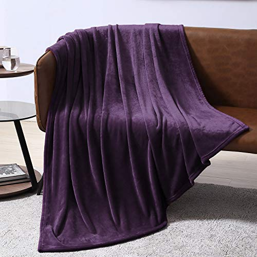 eggplant throw blankets EXQ Home Fleece Blanket Purple Throw Blanket for Couch or Bed - Microfiber Fuzzy Flannel Blanket for Adults or Kids