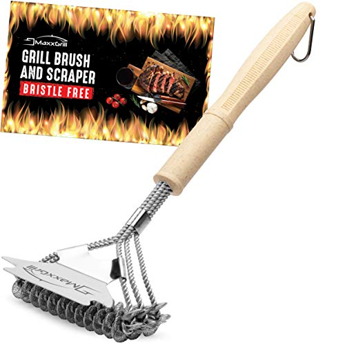 MaxxGrill Grill Brush and Scraper - Bristle Free - Safe BBQ Brush for Gas Grill - Grill Cleaner Brush for All Grill Types Including Weber