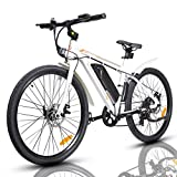ECOTRIC 26' Ebike Electric City Bicycle with 350W Brushless Rear Motor, 36V/9AH Removable Lithium Battery, Throttle&Pedal Assist, Disc Brake System (White)