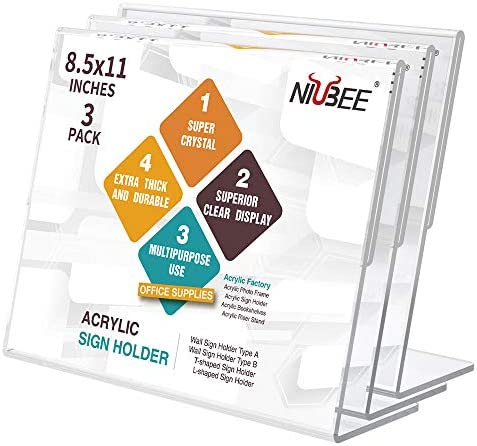 NIUBEE Acrylic Sign Holder 8 5x11 Inches 3 Pack Landscape Slant Back Clear Lucite Frames Plastic product image