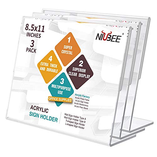 NIUBEE Acrylic Sign Holder 8.5x11 Inches 3 Pack Landscape, Slant Back Clear Paper Frames, Plastic Flyer Display Holder, Document Menu Table Stand for Office, Store, Restaurant -Horizontal