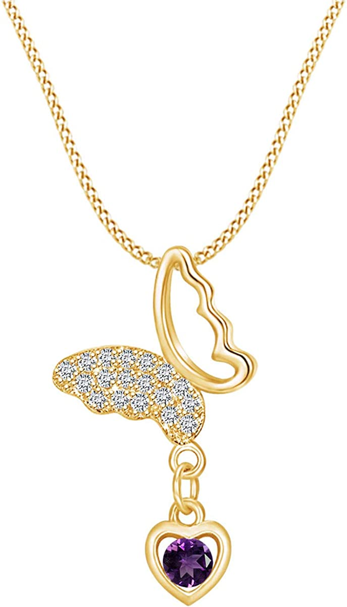 AFFY Simulated Birthstone Butterfly Heart Long Beach Mall Y OFFicial store Pendant 14k Necklace