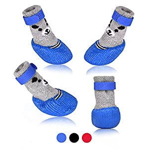 Dog Cat Boots Shoes Socks with Adjustable Waterproof Breathable and Anti-Slip Sole All Weather Protect Paws(Only for Tiny Dog) (L, Blue)