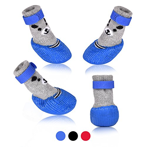 Dog Cat Boots Shoes Socks with Adjustable Waterproof Breathable and Anti-Slip Sole All Weather Protect Paws(Only for Tiny Dog) (S, Blue)