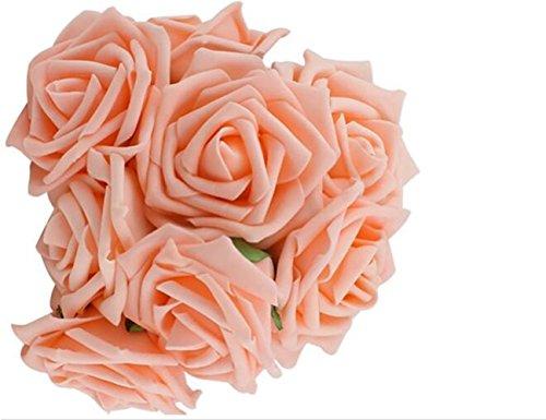 Qinlee Lot de 10pcs Fleurs de Soie Roses de Valentine Artificielle Fleur de Rose pour Le Mariage Home Décor-Couleur Orange Clair