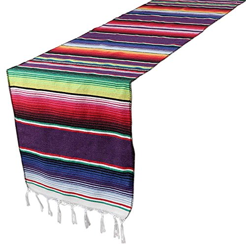 Aparty4u tissé main mexicain Motifs aztèques chemin de table 213,4 x 35,6 cm, rayé, Frange Coton chemins de table Intérieur ou extérieur Couverture mexicaine Décorations de fête de mariage Home Decor