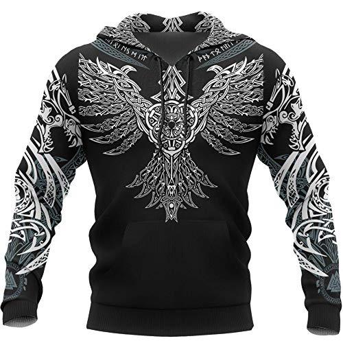 Viking Norse Mythology Odin Rune 3D Sweatshirt, Viking Men Women Printed Tattoo Art Clothes, Unisex Handmade Autumn Witer Fashion Casual Hooded Sweater,A,XS