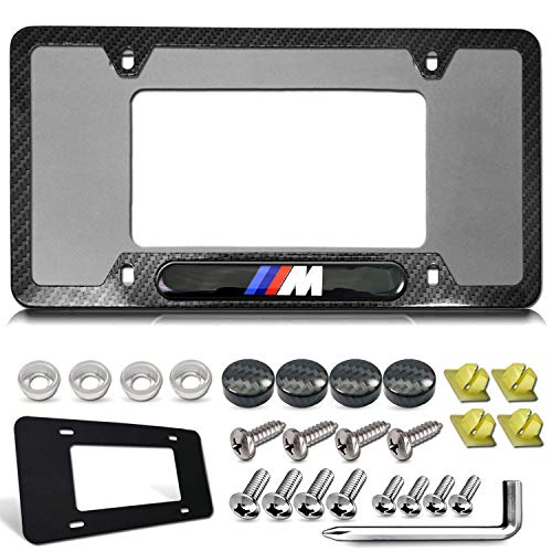 License Plate Frame for BMW- M Logo Tag Frame, Black Carbon Fiber Patterned Aluminum Plate Cover Holder with Stainless Steel Screws, Gift Accessories- Bolt caps and Plate pad, 1 Pack