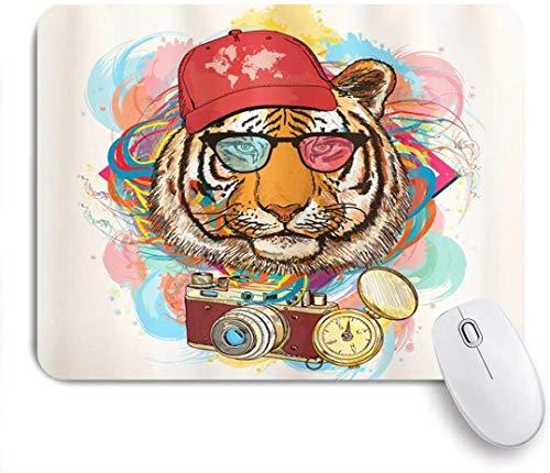 Mausmatte Mauspad Tier Hipster Rapper Tiger mit Sonnenbrille Hut und Kamerakünstler Hippie Tier Comic maßgeschneiderte Kunst Mousepad rutschfeste Gummibasis für Computer Laptop Schreibtisch Zubehör