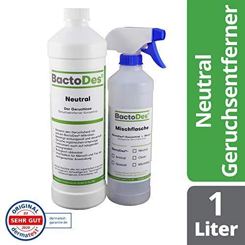 BactoDes Neutral Geruchsneutralisierer, Geruchsentferner, Geruchskiller Reiniger, Urin, Katzenurin, 1 Liter Spray