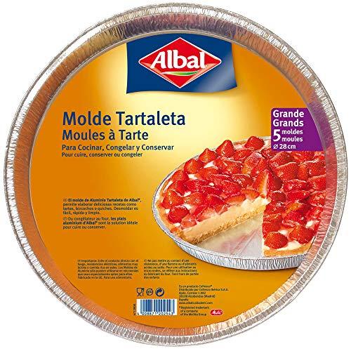 Albal Aluminio Redondo, Tartaleta de 28 centímetros | Desechables | Especial para Repostería y Postres | 5 Moldes