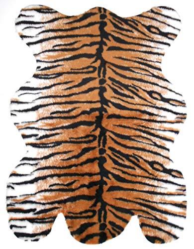 Holzdrehteile Tigerfell Vorleger Bettvorleger Plüsch Teppich Plüschfell Fell Tiger