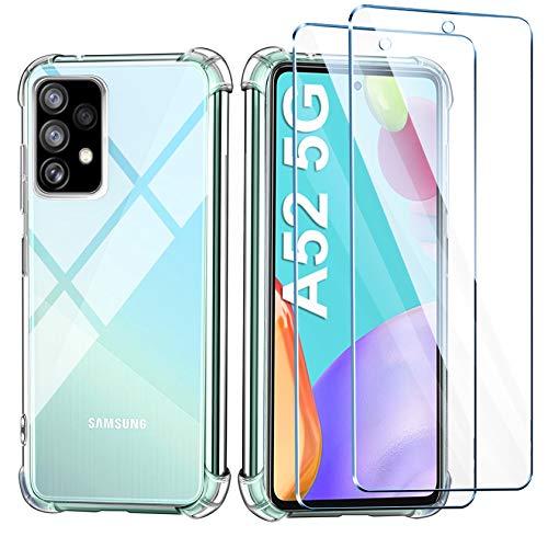 Leathlux Funda Samsung Galaxy A52 5G, 2 Pack Cristal Templado Protector de Pantalla, Ultra Fina Silicona Transparente TPU Funda y Protector Airbag Anti-arañazos Carcasa Samsung A52 5G /Samsung A52 4G