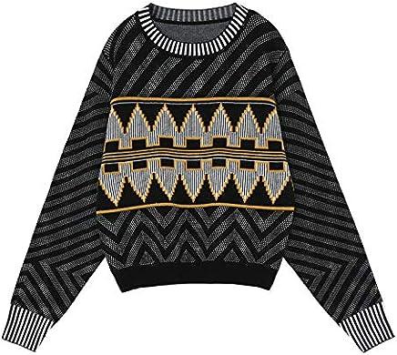 JIAKENVDE Sweater Female Winter Geometric Pattern Contrast color Top