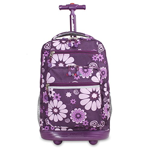 J World New York Sundance Laptop Rolling Backpack, Purple Flower, One Size