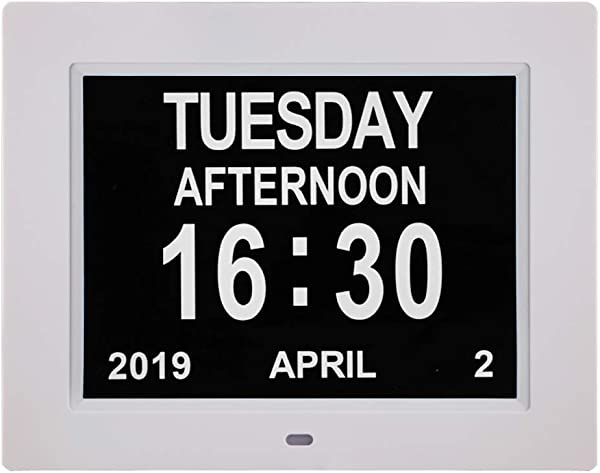 Newest Version Large Display Digital Calendar Day Clock 12 Alarm Options Level 5 Auto Dimmable Display Extra Large Non Abbreviated Day And Month Perfect For Seniors