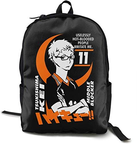 Tsukishima Kei - Zaino per la scuola di Haikyuu Zaini per libri leggeri Zaino per studenti Zaino da viaggio Borsa per laptop da donna