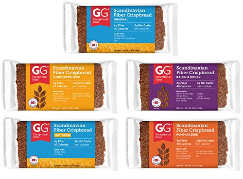 Peaceful Squirrel Variety, GG Scandinavian Crispbread Thins, Pack of 10 (2 of Each: Original, Original with Oat Bran, Sunflower Seeds, Pumpkin Seeds, Raisin & Honey)