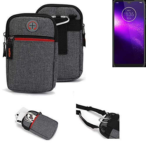K-S-Trade® Gürtel-Tasche Für Motorola One Macro Handy-Tasche Holster Schutz-hülle Grau Zusatzfächer 1x