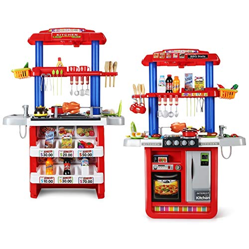 CUTE STONE 2-in-1 Kids Kitchen & Grill Playset, Large Play Kitchen with Realistic Lights & Sounds,Play Sink with Running Water, Kitchen Toy Set with...