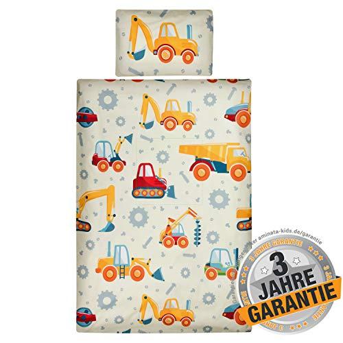 Aminata Kids - Kinderbettwäsche Bagger-Motiv 100-x-135-cm x 40x60 cm - Baustellen-Motiv - Kinder-Bettwäsche-Set aus Baumwolle mit Reißverschluss, Betonmischer, Auto-Motiv - Jungen gelb, rot