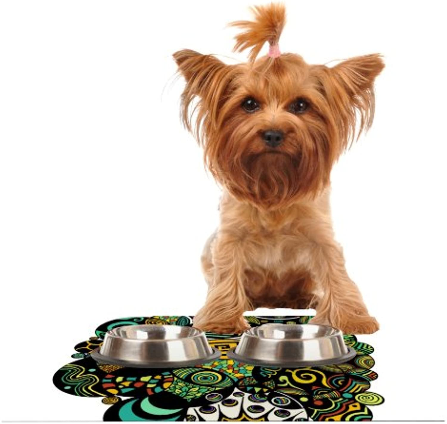 Kess InHouse Pom Graphic Design Multicolor Life  Feeding Mat for Pet Bowl, 24 by 15Inch